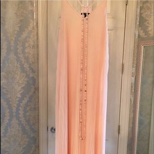 Long Pastel Peach Dream Dress w Pearl Necklace